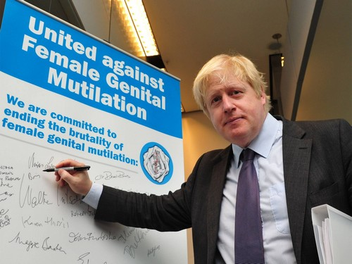 Boris Johnson fights FGM with a pen.