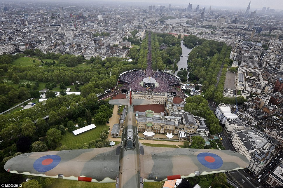 Breathtaking: The view of Buckingham Palace and The Mall beyond from the Lancaster bomber